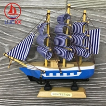 LUCKK 16CM Marine Nautical Wooden Model Ships Sea Blue Home Interior Decoration Wood Crafts Room Mediterranean Sailboat