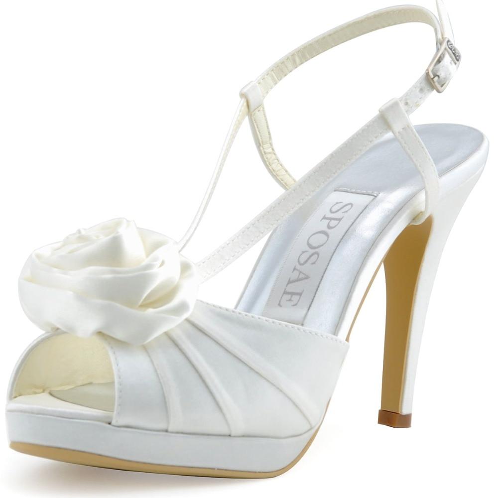 ФОТО Women Shoes Wedding Pumps Ivory White Sandal Peep Toe High Heel Satin Platform Flower Buckles EP11126-PF Evening & Party Shoes