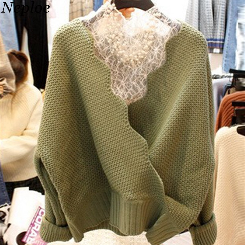 Neploe Knitted Women Sweater Pullovers Lace-Tops Two-Pieces Sueter Loose Fashion New