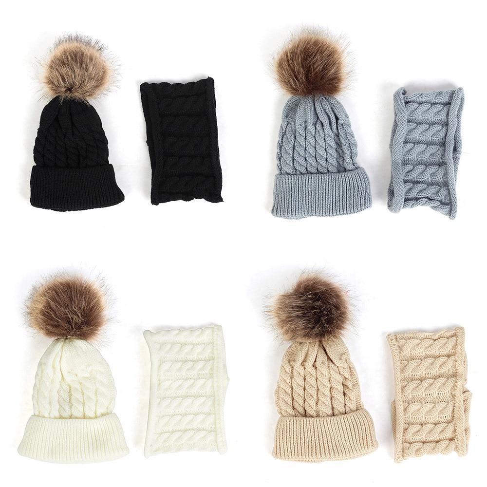 Fashion Women Ladies Winter Warm Knitted Scarf And Beanie Hat Pom Pom Cap Set