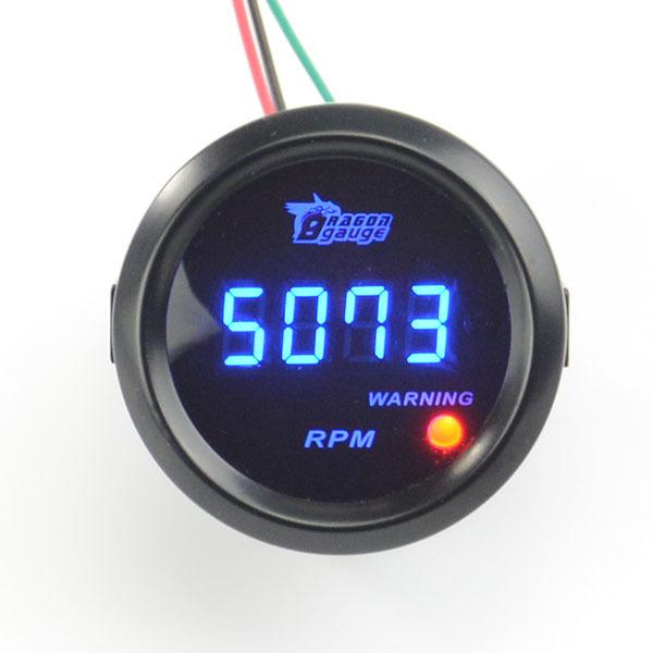 Universal 52mm Preto Shell e Luz LED Azul Digital Medidor de Bitola Tacômetro 0-9999 RPM Frete grátis