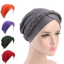 Retro Women Braid India caps Muslim Cancer Chemo Beanie Hair Loss Turban femme Wrap