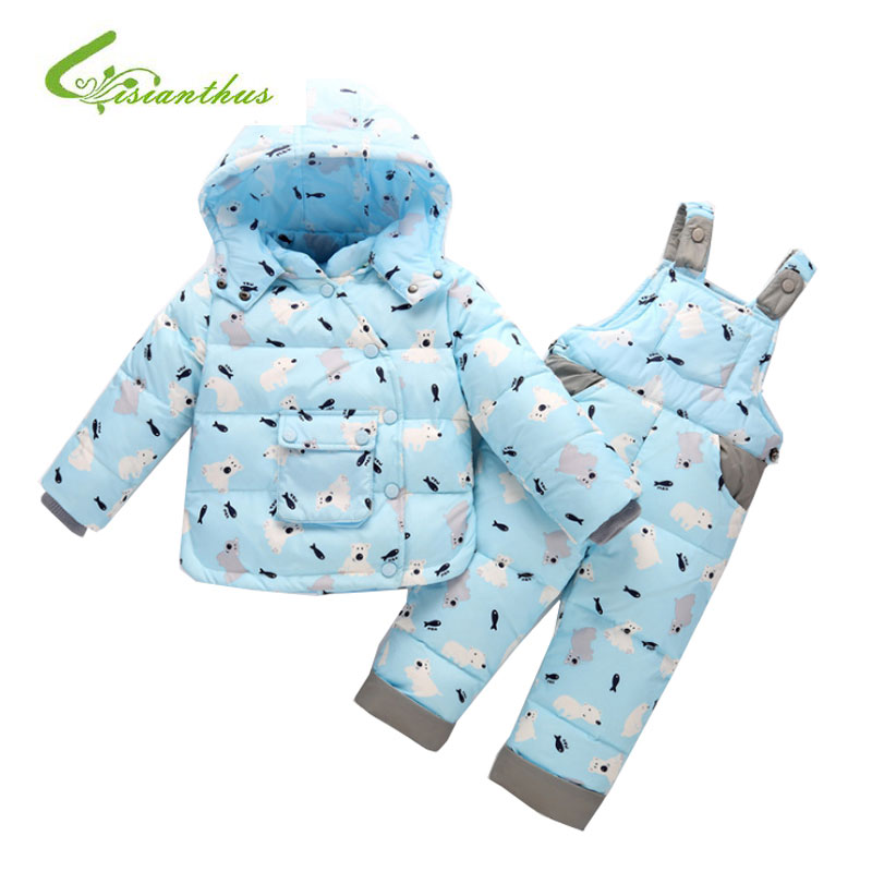 Winter Jacket For Kids Animals Polar Bear Fish Parttern Hooded White Duck Down Outwear Baby Boys Girls Clothing Set With Pants russia winter boys girls down jacket boy girl warm thick duck down