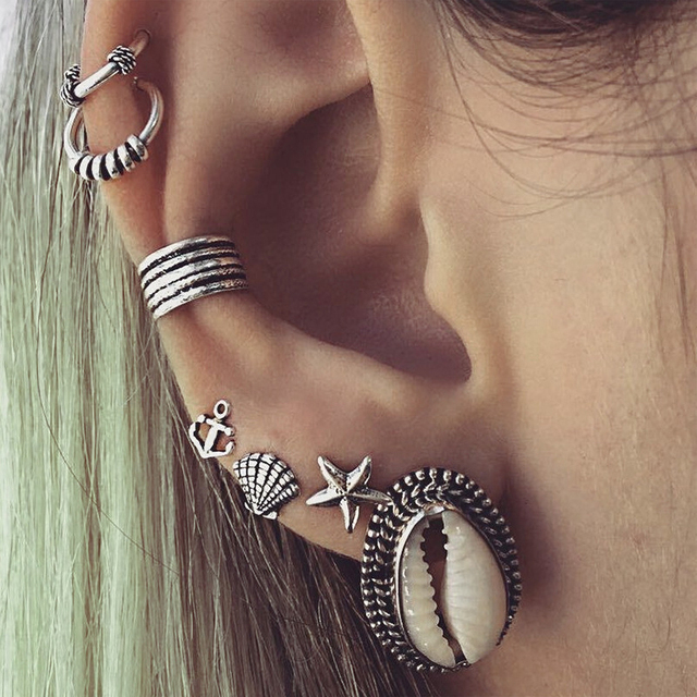 KLEEDER Bohemian stud earrings set Plating silver shellfish starfish Ear  Cuff Piercing Ears Clips jewelry Cartilage