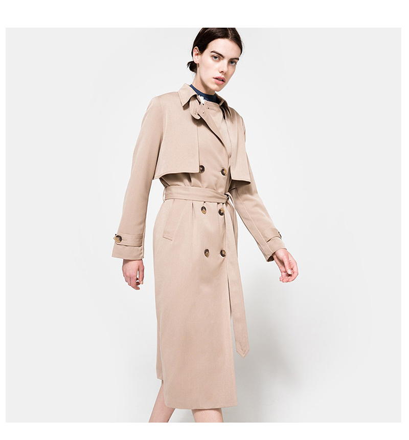 HDY Haoduoyi 19 Autumn New High Fashion Brand Women Classic Double Breasted Trench Coat Waterproof Raincoat Business Outerwear 9