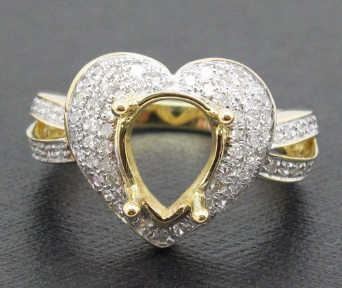 Romántico 7x9mm Pear Cut 18ct Oro Amarillo Diamante Natural Anillo de Montaje Semi Boda Joyería