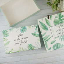 New 21*14*5cm 10pcs summer leaves Macaron Chocolate cookie Paper Box Storage Boxes Christmas Birthday Party Gifts Packaging