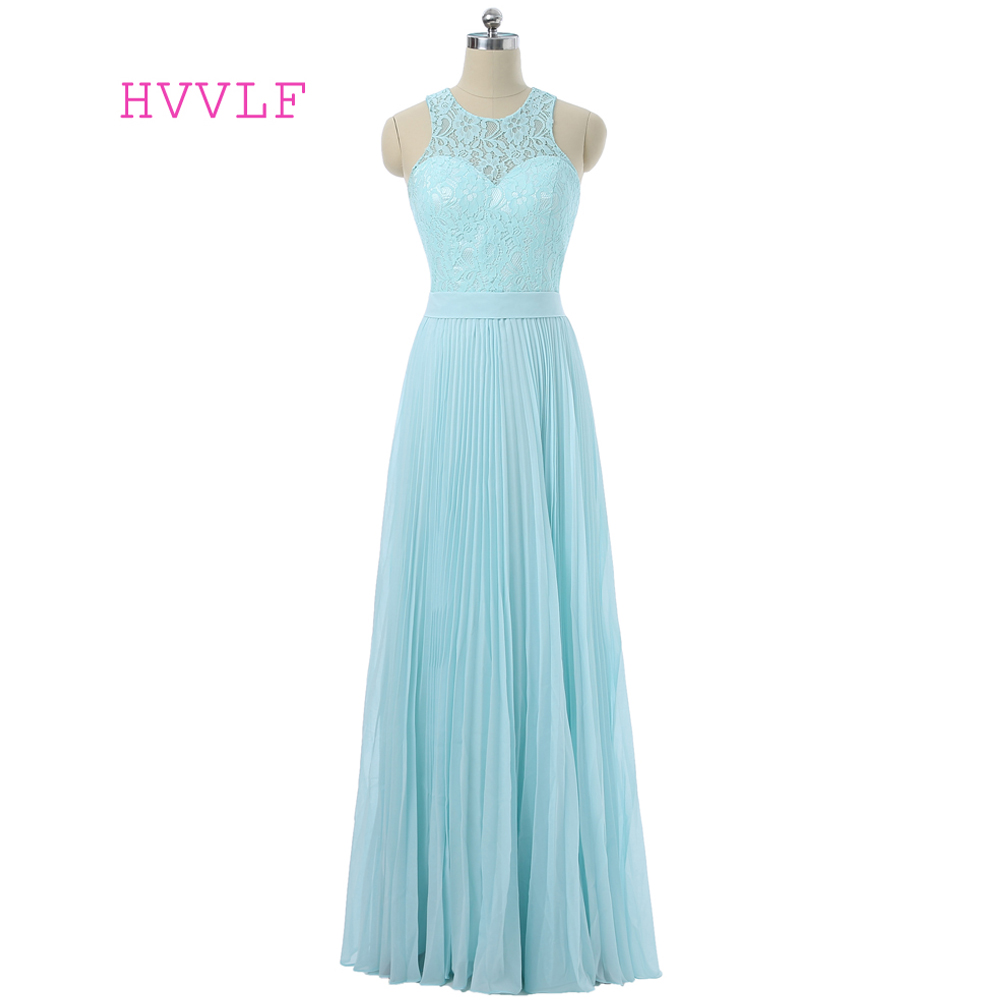 Turquoise 2019 Cheap   Bridesmaid     Dresses   Under 50 A-line Floor Length Chiffon Lace Backless Wedding Party   Dresses