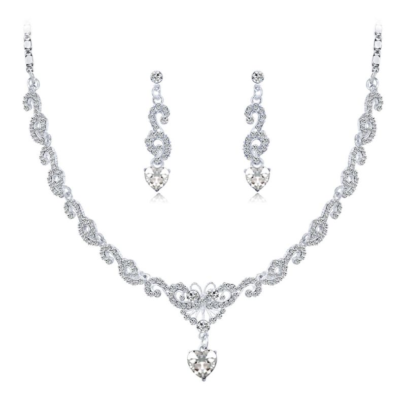 1 Set 2018 Hot Sale Necklace Earrings Jewelry Wedding Crystal Chain Bridal Charm