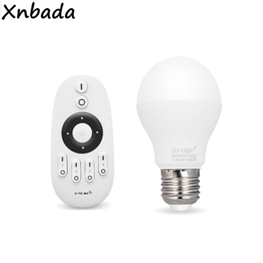 Milight 2.4G E27 6W CW WW Led Bulb Led Lamp AC85-265V Wireless RF Remote Led Controller For CW WW Led Bulb