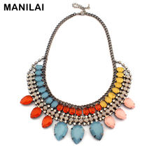 New Luxury Brand Shourouk Jewelry Fashion Multilevel Rhinestones Colorful Jelly Resin Stones Statement Choker Necklaces CE1282(China)