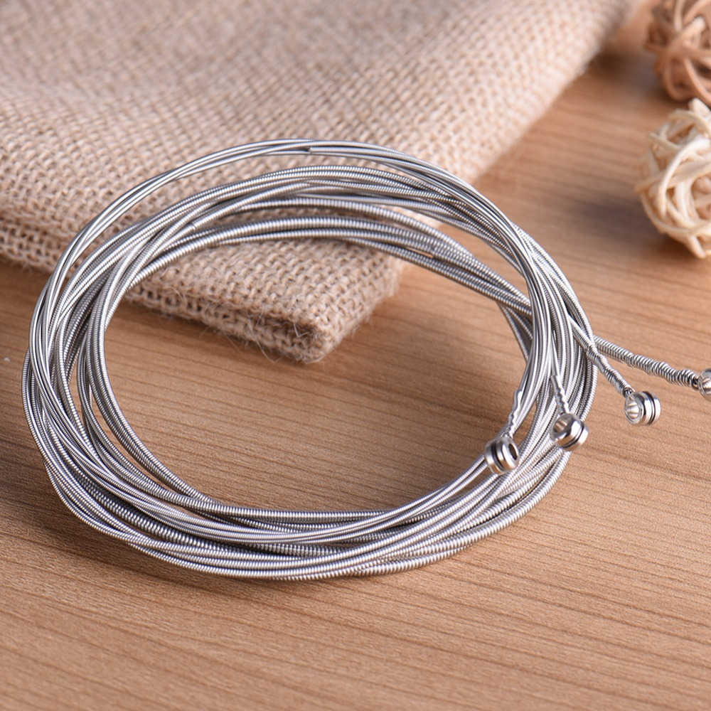 4 Pcs Bass Strings Bass Guitar Parts Accessories Guitar Strings Stainless Steel Silver Plated Gauge Bass Guitar rotosound rs88ld black nylon flatwound bass strings