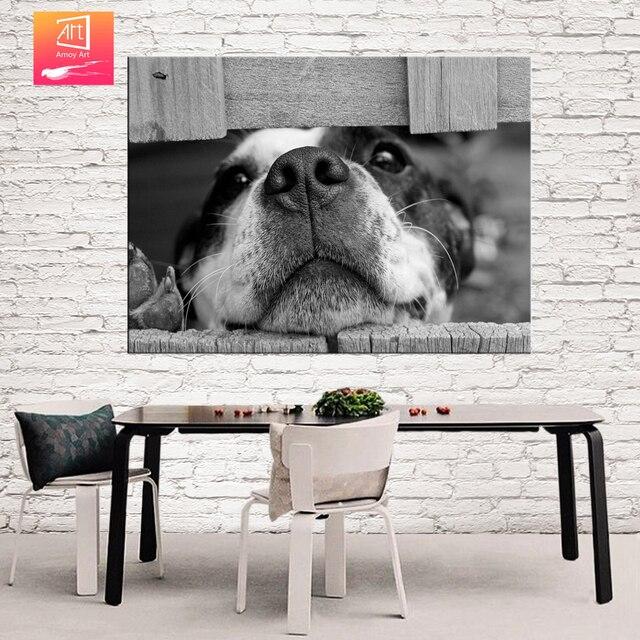 Zwart Wit Leuke Hond Muur Schilderen Doek voor Woonkamer decor print ...