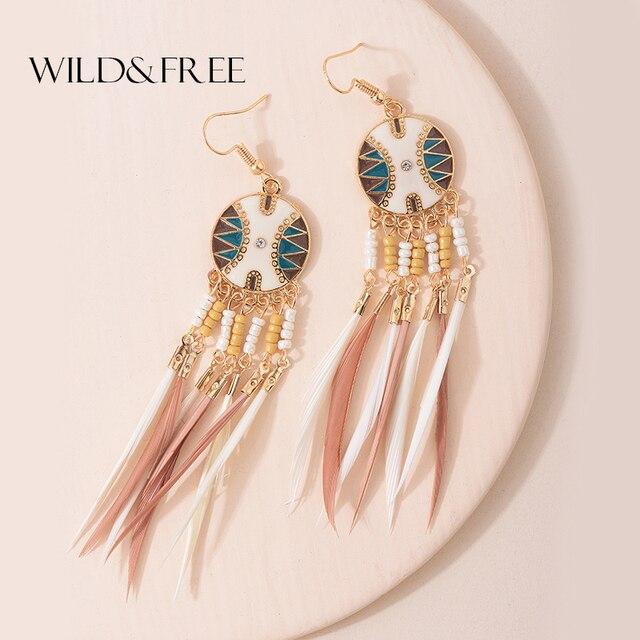 Boucles d'oreilles longues en forme de plume faites à la main pour femmes, bijoux en alliage bohème, perles bleues roses, boucles d'oreilles à pompon, accessoires