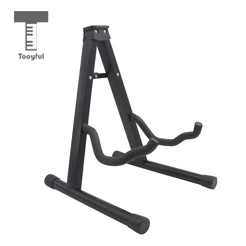 Tooyful Foldable A-Frame Guitar Stand Hanger Holder Wall Mount Display for Acoustic Ukulele Bass Electric/ Wooden Guitar Part wall mount guitar hanger hook holder keeper auto grip system lock round base for electric acoustic guitars string instrument