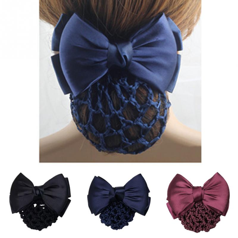 Women Bowknot Bun Snood Hair Clip Cover Headband Satin Hair Jewelry for Bank Hotel Office Lady Solid Color Satin Bow Barrette