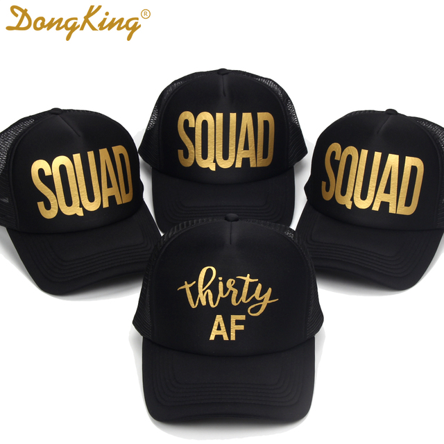 DongKing Thirty Trucker Hat 30th Birthday Golden Printed SQUAD Party Gift Sexy