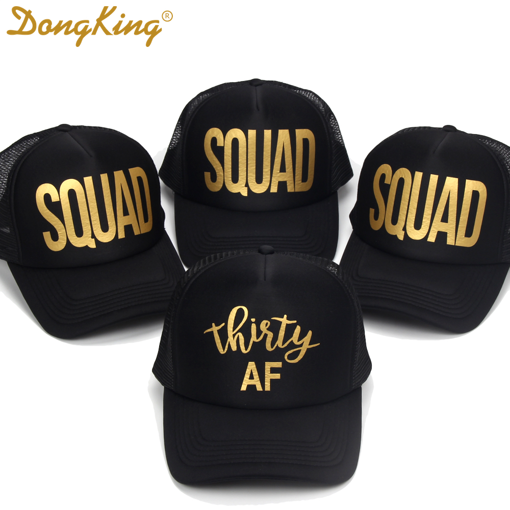DongKing Thirty Trucker Hat 30th Birthday Hat Golden Printed Thirty SQUAD 30th Birthday Party Gift Sexy Girl Trucker Caps