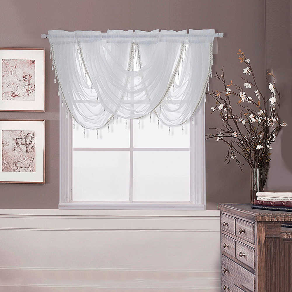 White Waterfall Valance Curtains Silver Silk Line Luxury Beaded Curtain Valance Sheer Window Curtains For Kitchen Living Room VC