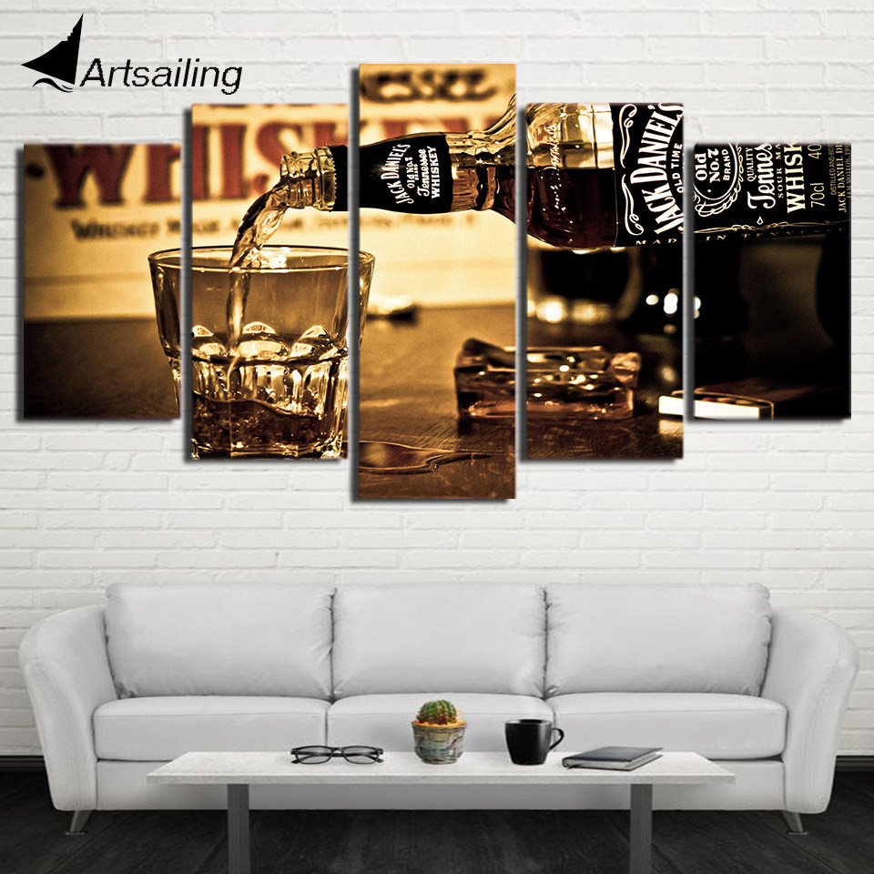 5 pieces wall art canvas painting hd printed jack daniels drink 5 pieces wall art canvas painting hd printed jack daniels drink posters wall pictures for living room modern home decor ny 6712b in painting calligraphy amipublicfo Gallery