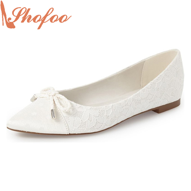 cee1d5d1d71 Shofoo Design Brand Embroider Women Floral Lace Casual Fashion Flats Point  Toe Ballet Shoes White For Women Sapato Feminino 4-16