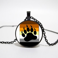 Bear Pride Ying Yang with Paw Gay Pride Photo Charm pendant rainbow necklace & pendant Handmade glass dome gay jewelry(China)