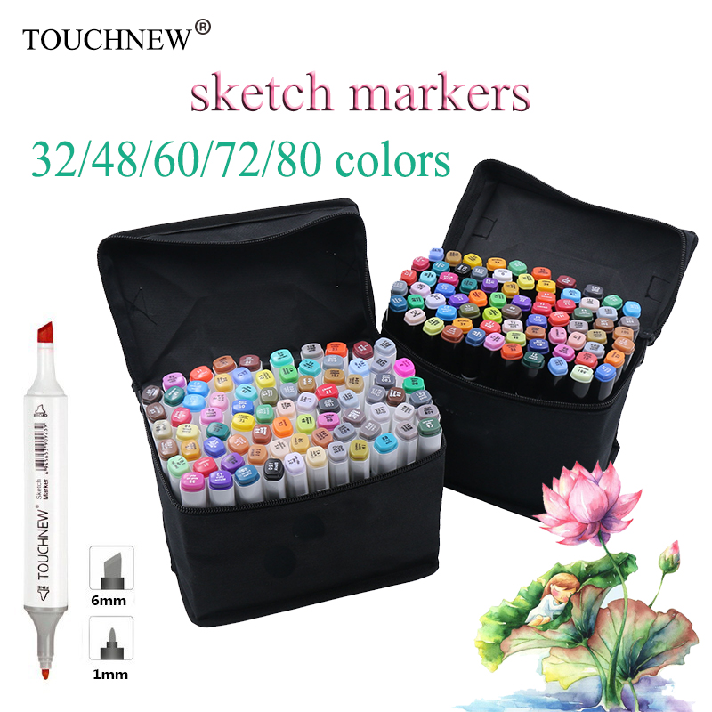 30/32/36/40/60/72/80 Color Dual Headed Marker Set Animation Manga Design brush pen School Drawing Sketch Marker Pen Art Supplies touchnew 80 colors artist dual headed marker set animation manga design school drawing sketch marker pen black body