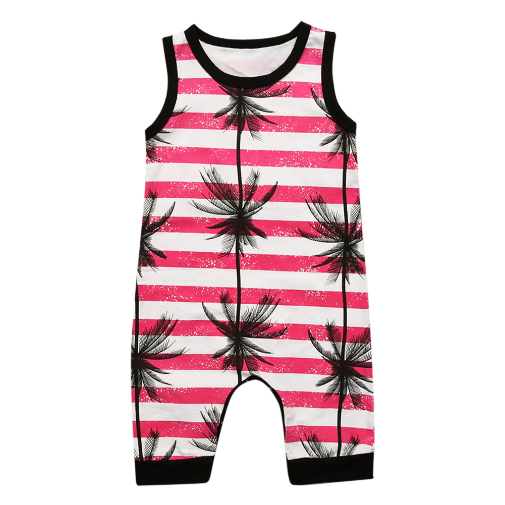 Summer Baby Boys Girls Clothes Toddler Newborn Baby Sleeveless Print Stripe Coconut Tree Romper Jumpsuit Clothes Outfits ...
