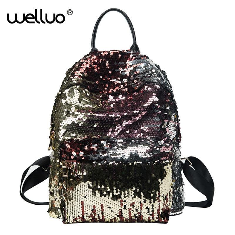 Sequin design Women Backpacks Teenage Girls Bling Travel Book School bag Glitter Backpack gold black Sequins mujer XA230-1B