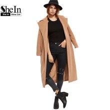SheIn Winter Coat Women Elegant Coats For Women Camel Oversized Collar Long Sleeve Open Front With Pocket Long Coat