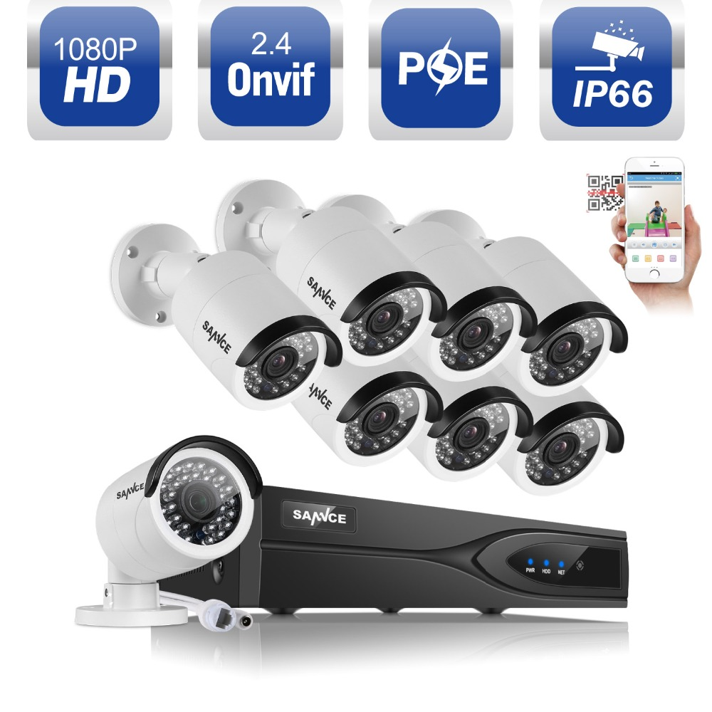 SANNCE 8CH 1080P POE NVR Kit 2.0MP CCTV System Security 3000TVL POE IP Camera Onvif P2P Waterproof Outdoor Home Surveillance Kit