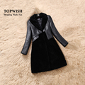 2017 New Fashion 100% Real Merino Sheep Fur Coat Genuine Sheep Leather Jacket Turn Down Natural Fur Overcoat TFP831