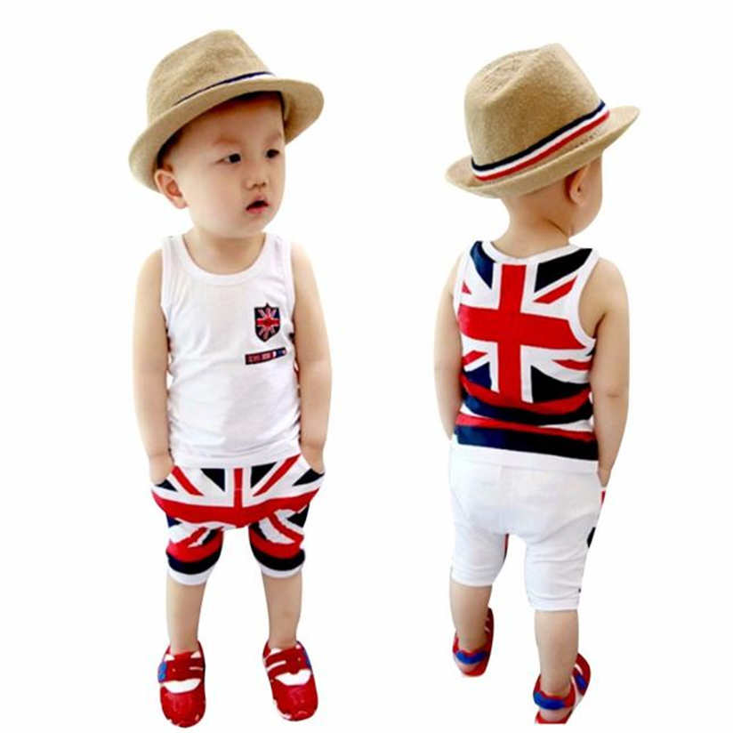 Summer Toddler Sports suit Kids Baby Boys Union Jack Outfits Vest Tops Pants Set Clothes with high quality 2-7 years oldM9