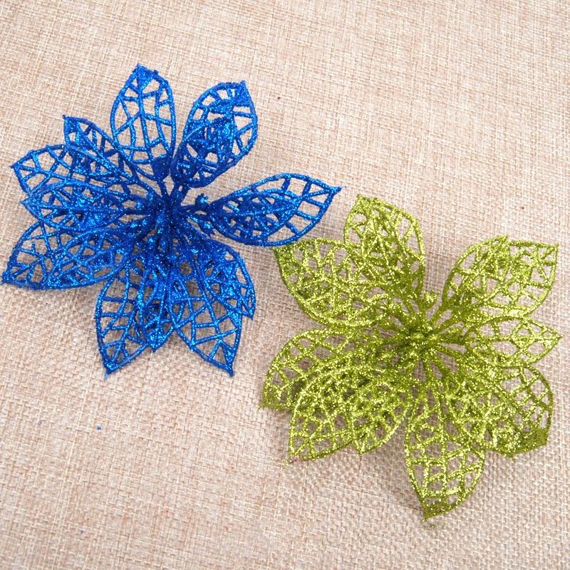 10 stk Glitter Hollow Flower Decoration Blomster til juletræer til - Varer til ferie og fester - Foto 3