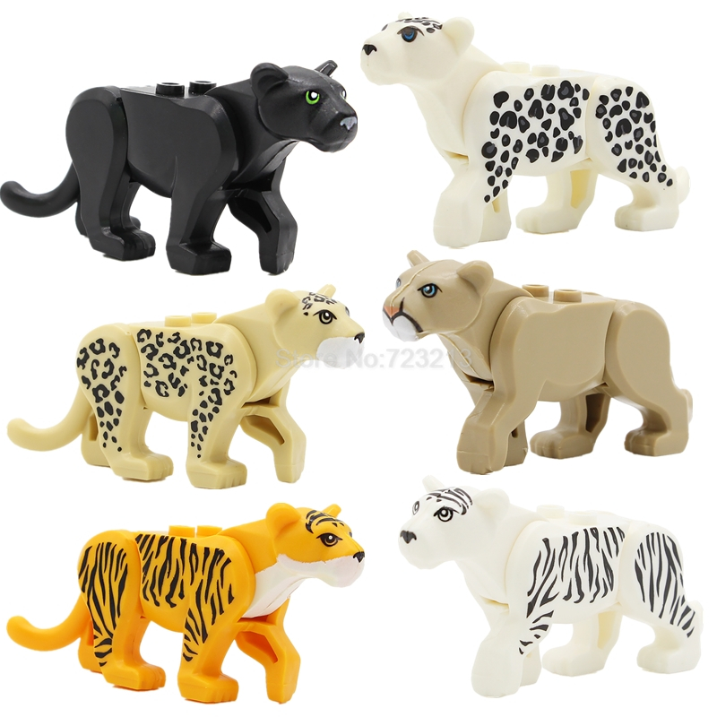 Panther Snow Leopard Single Sale Puma Concolor Mountain Lion Jungle Animal Series Building Blocks Set Model Bricks Toys the snow leopard