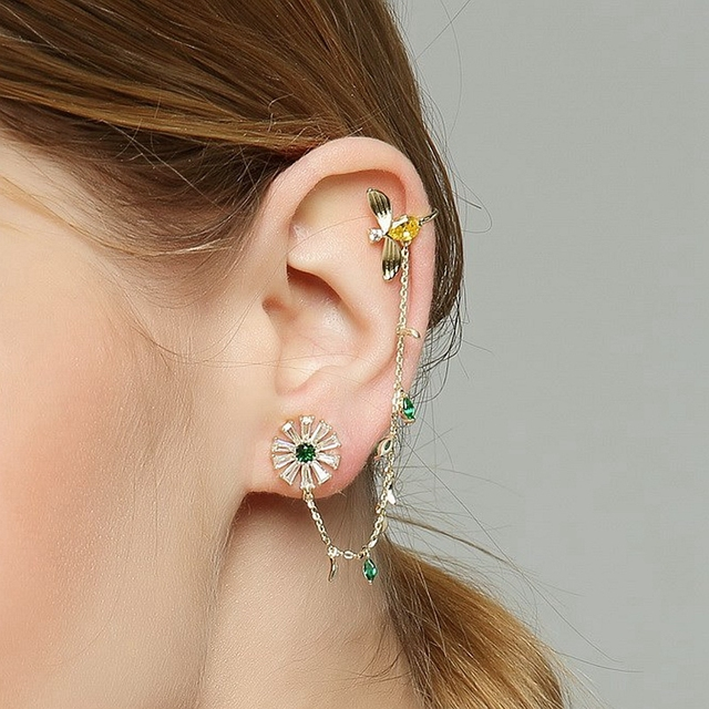 Boho Cuff Earring with Green Cubic Zirconia