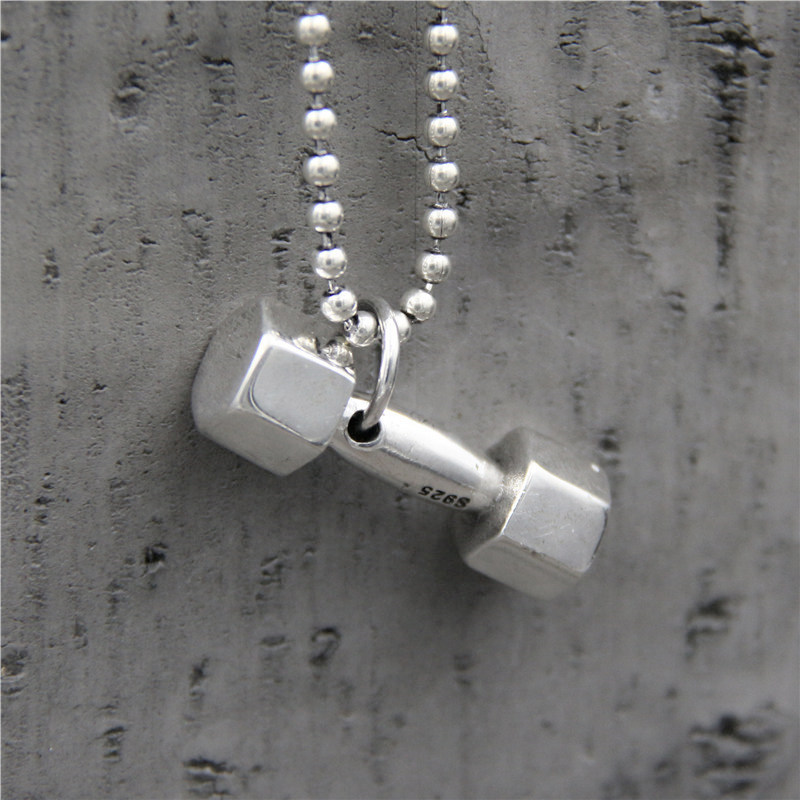 C&R Pure 925 Sterling Silver Pendant Necklace Dumbbell Pendant Creative Personality Stylish Men and Women Fine Jewelry