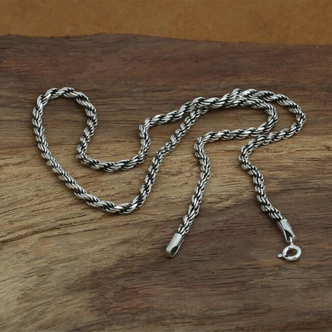 Solid Silver 925 String Weave Twisted Rope Necklace Men Real Silver 925 Necklace Choker Fashion Men Jewelry, Dia 3mm 50cm/60cm 3mm thick weave rope chain cross link silver necklace sterling 925 silver jewelry