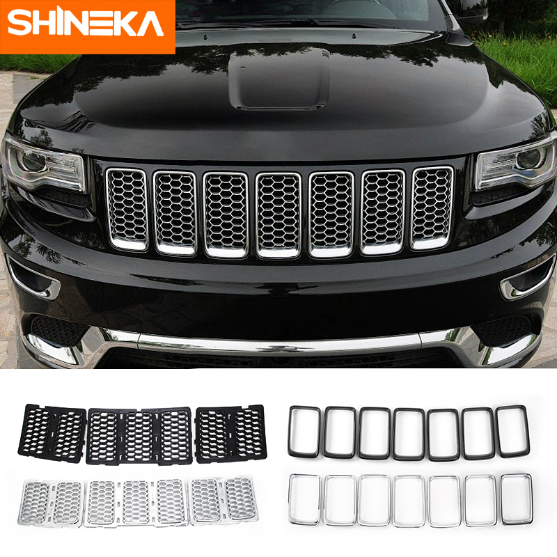 JeCar Grille Inserts ABS Mesh Honeycomb Grill Cover Trim Kit for 2017-2019 Jeep Grand Cherokee WK2 Black