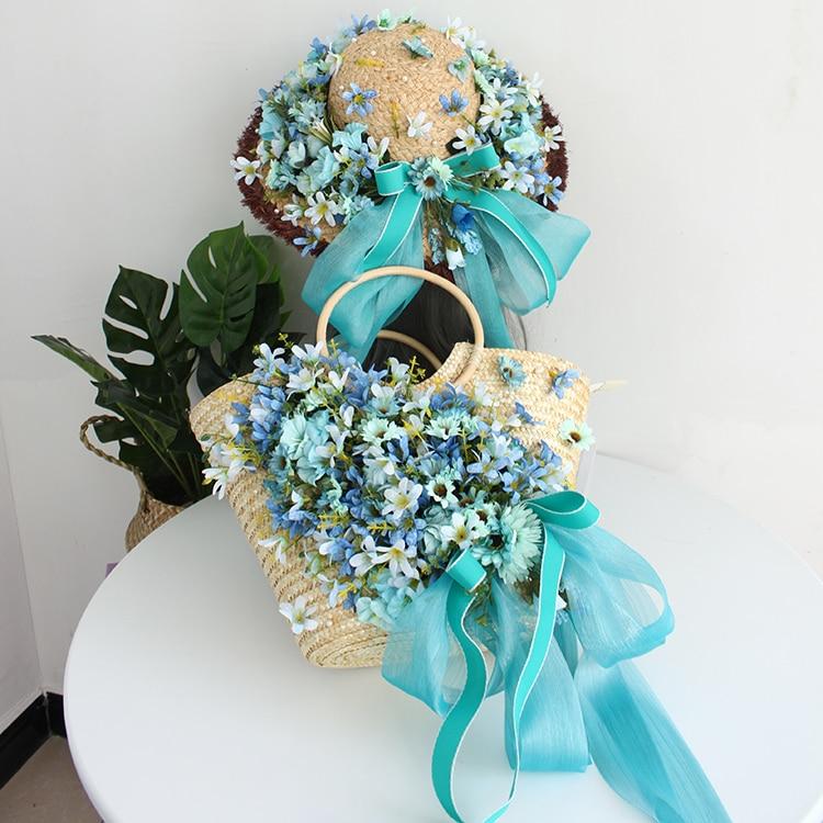 Originele handgemaakte bloem bag lady tassen zomer strand hoed handtas rotan strozak mooie groene sky blue zijden lint-in Top-Handle tassen van Bagage & Tassen op  Groep 2