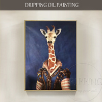 Special Design Artist Hand painted Beautiful Giraffe Oil Painting on Canvas Luxury Realist Animal Oil Painting for Wall Decor