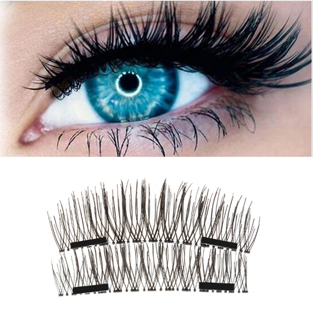 4Pcs 3D Double Magnetic Eyelashes Natural Beauty Full Strip Magnetic Hair Fake Eye Lashes Make