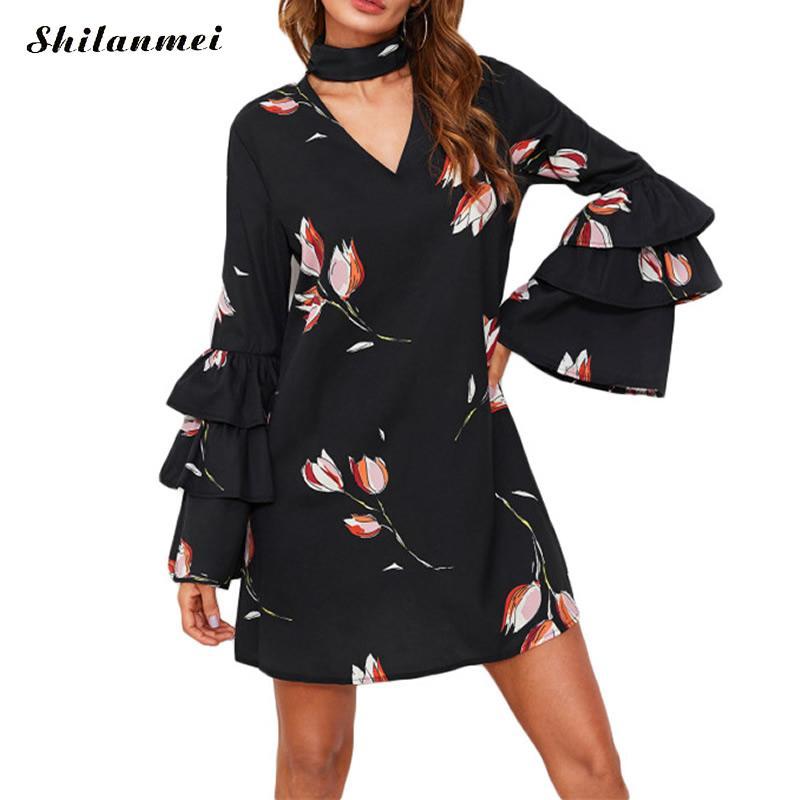 2018 Summer Dress Women Long Flare Sleeve V Neck Ruffles Loose Beach Dress Causal Black Floral Vestidos Chorker Sexy Mini Dress