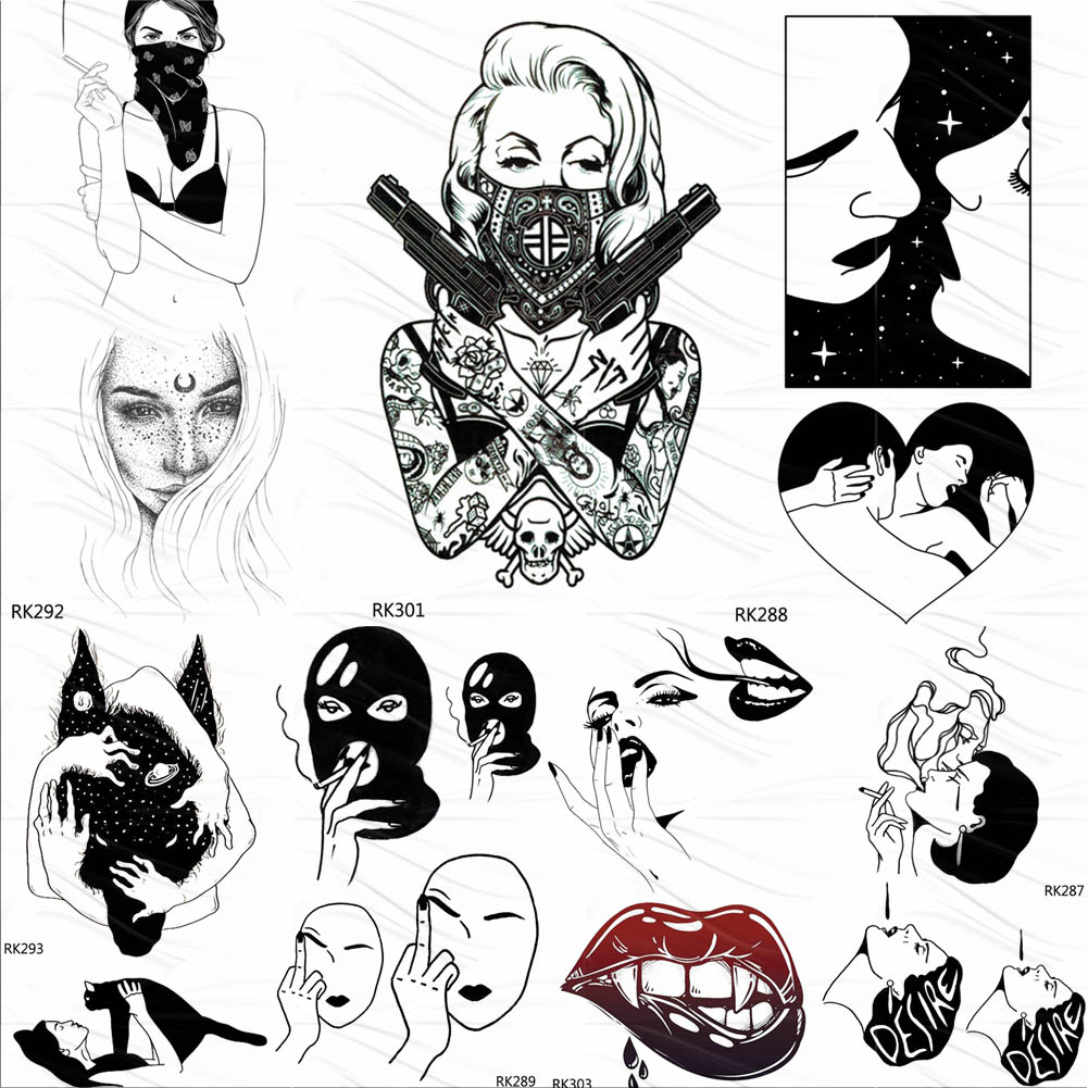 OMMGO Punk Gangster Weapon Black Temporary Tattoos Sticker Sexy Fake Tattoo Love Robber Custom Tatoos For Women Girl Body Art