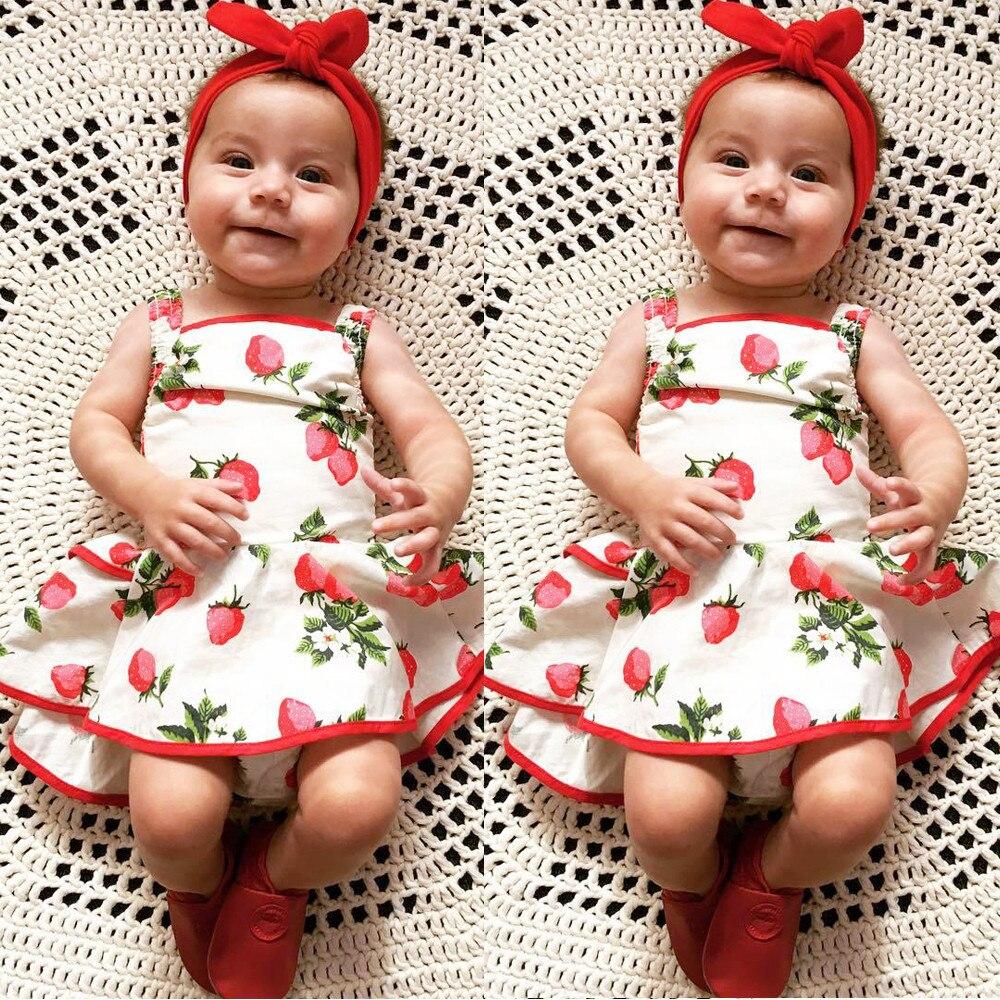 Lucu Bayi Perempuan Strawberry Pola Gaun 0 24 M Balita Dress Bunga 1 5 Tahun Baju Anak Lengan Buntung Tutu Pink Kemerahan Katun Tanpa Outfit Pakaian Kasual Di Dresses Dari Ibu