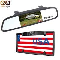 MJDXL USA License Plate Frame Video Parking Sensor Car Reaview Backup Camera Night Vision Universal 4