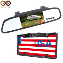 "Sinairyu USA License Plate Body Video Parking Sensor Automobile Reaview Backup Digicam Evening Imaginative and prescient + Common four.three"" TFT Mirror Monitor"