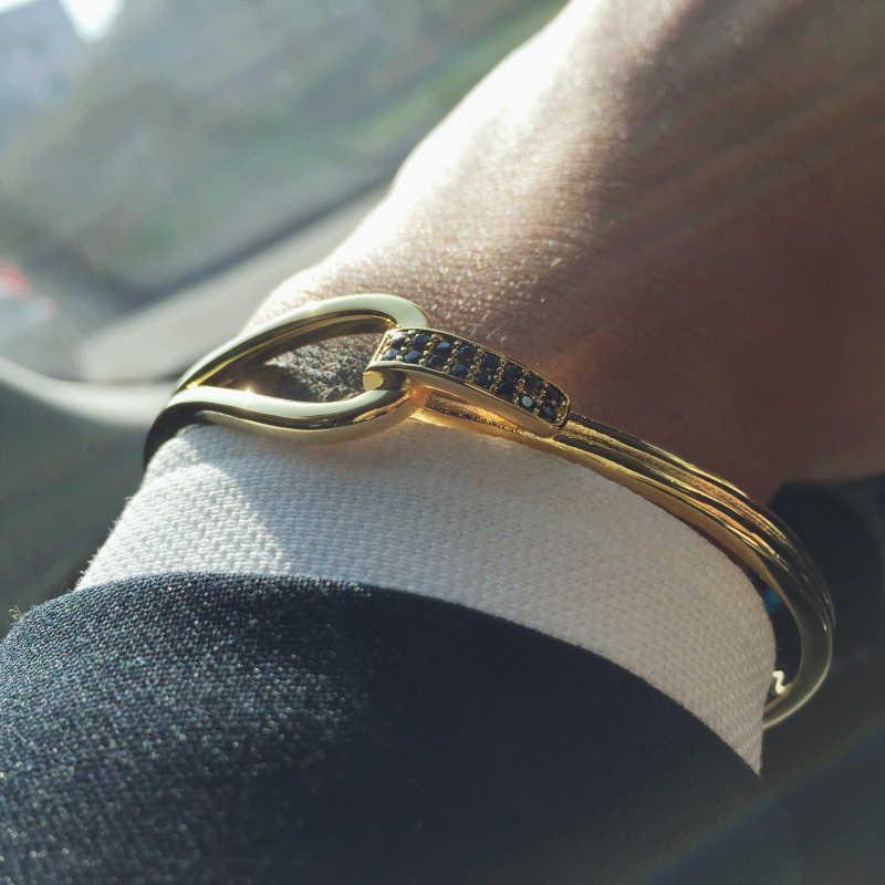 Mcilroy mankiet mężczyzn bransoletki nowych mężczyzna biżuteria srebrny/czarny/fajne cyrkon miłość mankiet bransoletki valentine prezent pulseira masculina