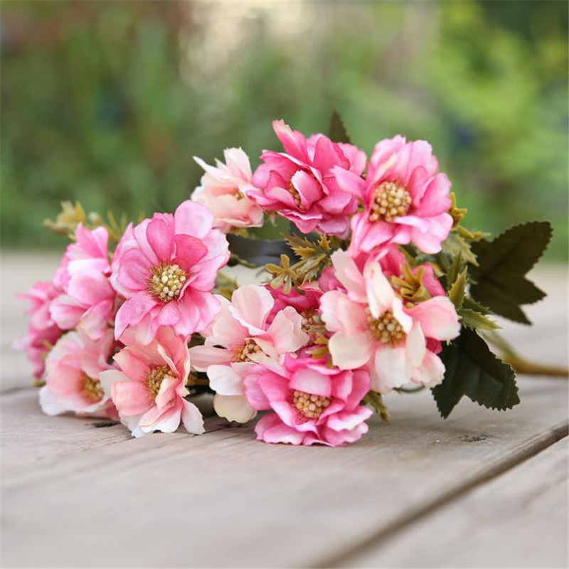 ARTIFICIAL FLOWERS CRINKLED ROSE BUNCH 7 STEMS 33CM LONG PINK