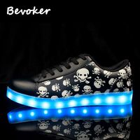 Bevoker Fashion 7 Colors Basket Luminous Shoes Luxury Men Led Shoes Breathable Black S Unisex Light
